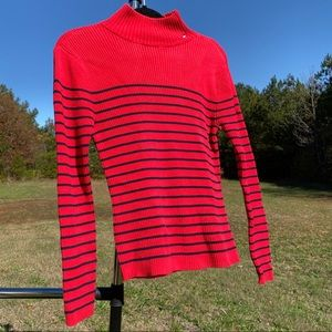 Tommy Hilfiger Red w Black Stripe Mock Neck